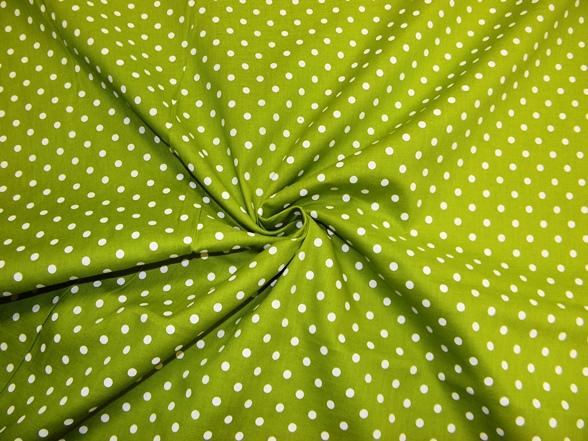 zöld alapon fehér pöttyös vászon