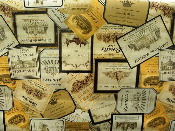 bor-címkés viaszosvászon terítő