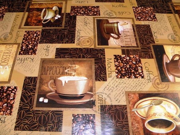 kávé-mintás viaszosvászon terítő