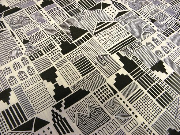 fekete fehér mintás pamut vászon