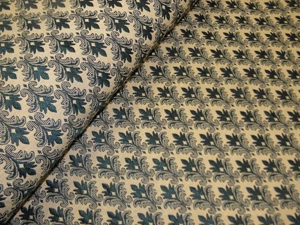 zöld barokkmintás bútorszövet